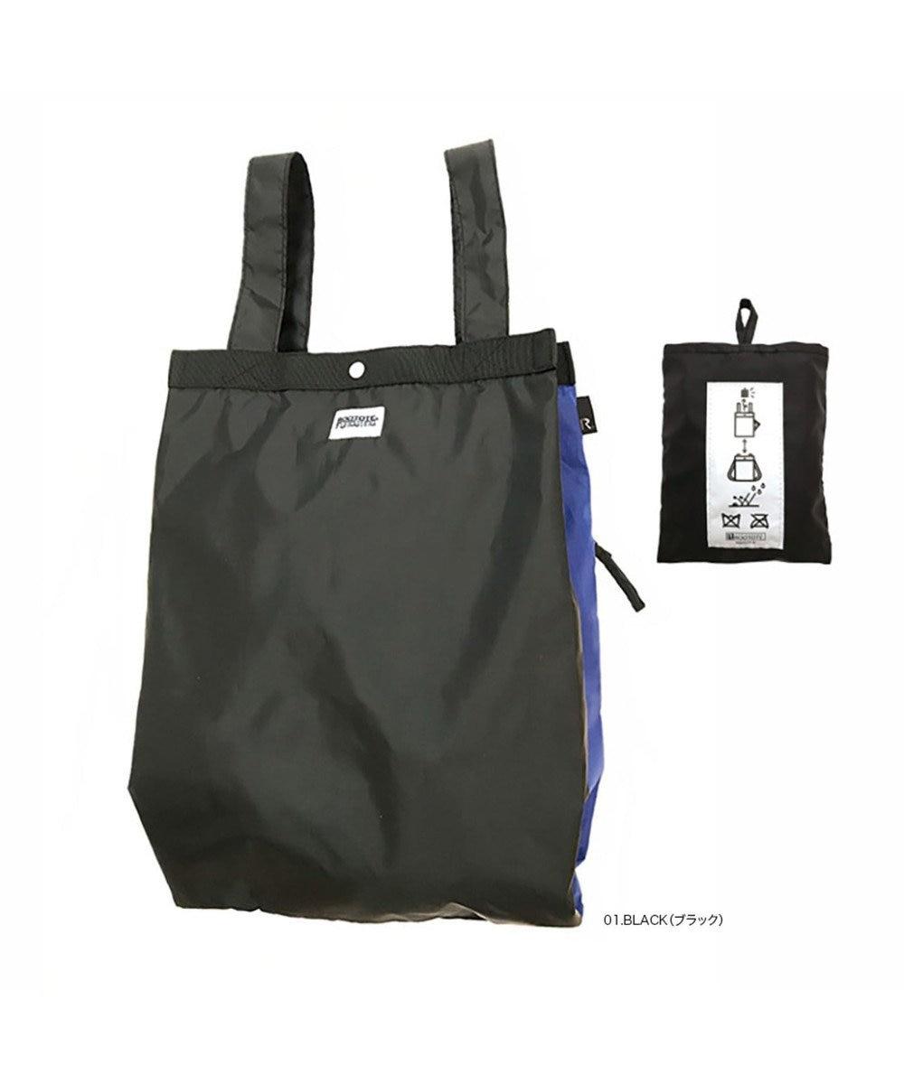 ROOTOTE 0260【はっ水加工:背負えるエコバッグ】RT RO セオルーショッパー-A 01:ブラック