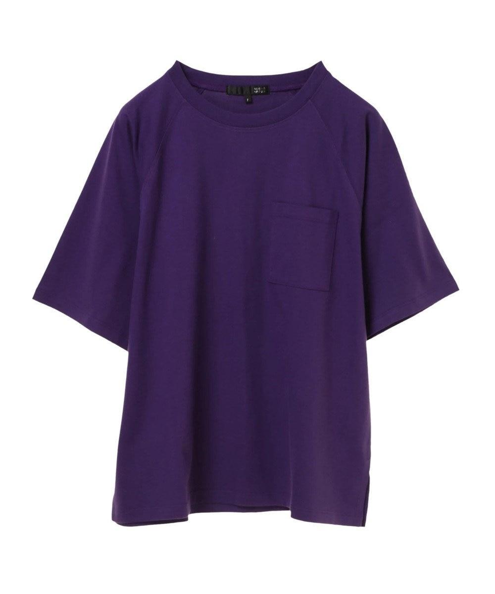 Green Parks ・ポケット付5分袖ワイドラグランTシャツ Purple