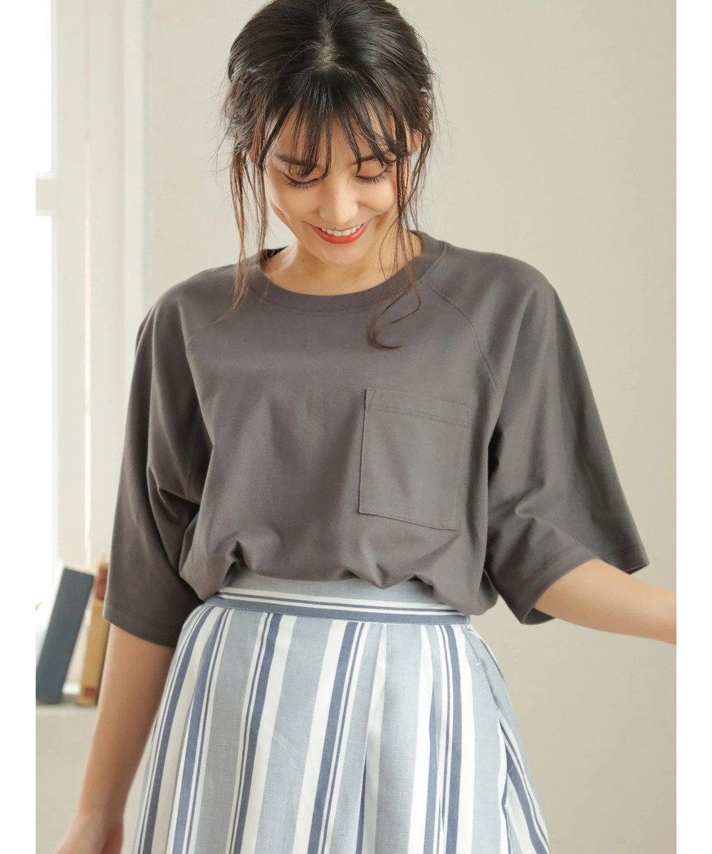 Green Parks ・ポケット付5分袖ワイドラグランTシャツ Charcoal Gray