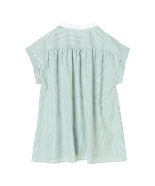 koe 衿配色ストライプシャツ Green