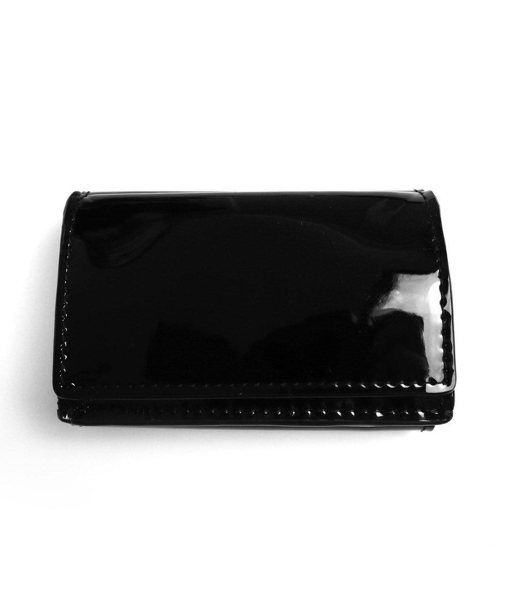 Tiaclasse 【本革】手のひらサイズのミニ財布 エナメルブラック(黒ステッチ)