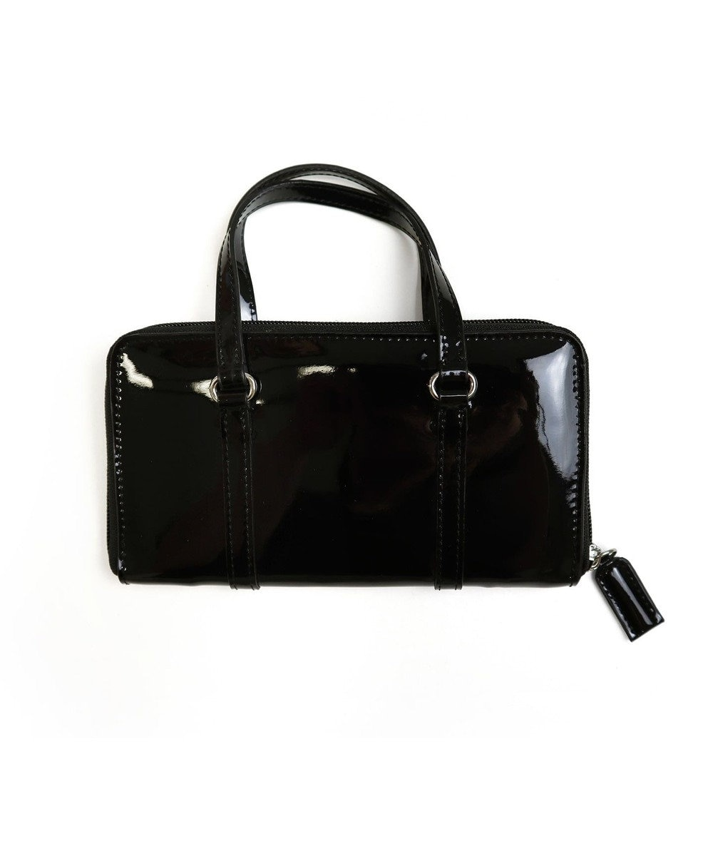 Tiaclasse 【本革】持ち手付き財布 エナメルブラック(黒ステッチ)
