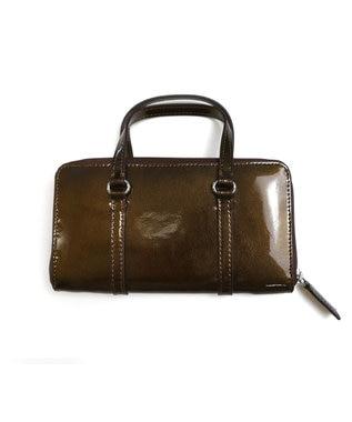Tiaclasse 【本革】持ち手付き財布 エナメルブロンズ