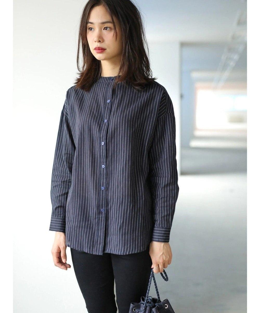 koe バンドカラーベーシックリラックスシャツ Stripe