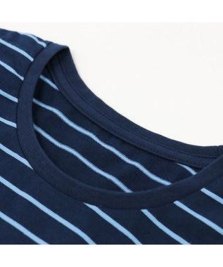 Mother garden しろたん Tシャツ 長袖 ボーダー 泳ぎ柄 紺色 S M L XL ユニセックス 紺(ネイビー・インディゴ)