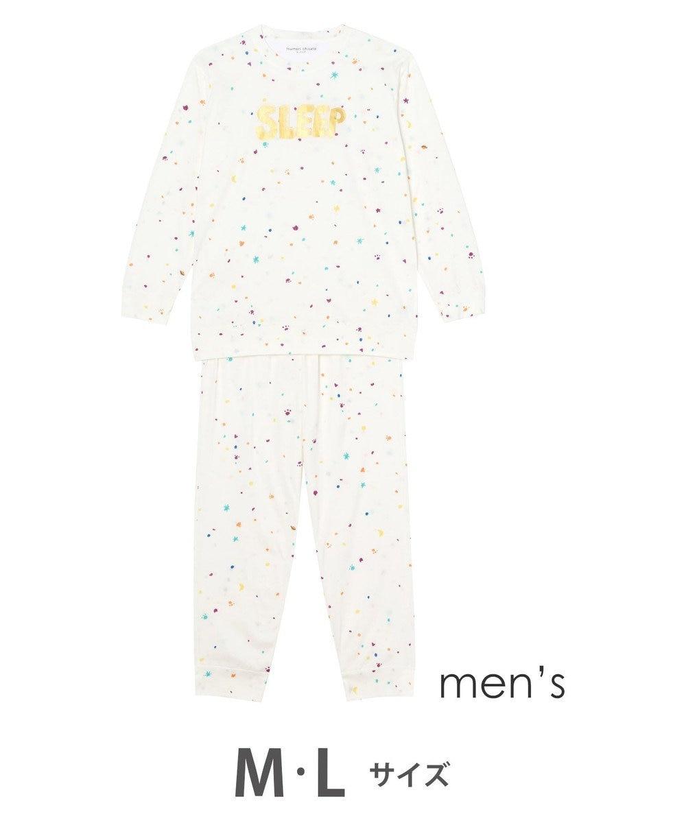 tsumori chisato SLEEP メンズパジャマ ロング袖ロングパンツ スタードット柄 /ワコール UGQ102 アイボリー