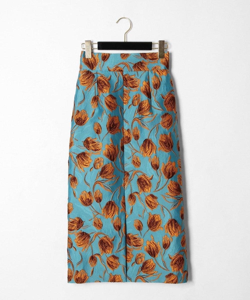 GRACE CONTINENTAL チューリップジャガードスカート ブルー
