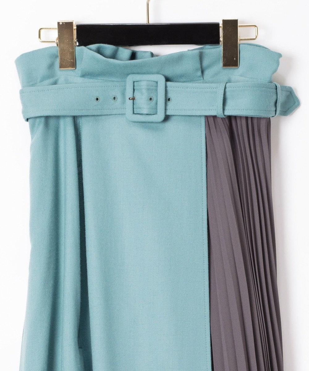 GRACE CONTINENTAL 配色マチプリーツスカート ブルー