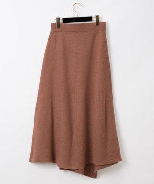 GRACE CONTINENTAL 圧縮ウールニットスカート ブラウン