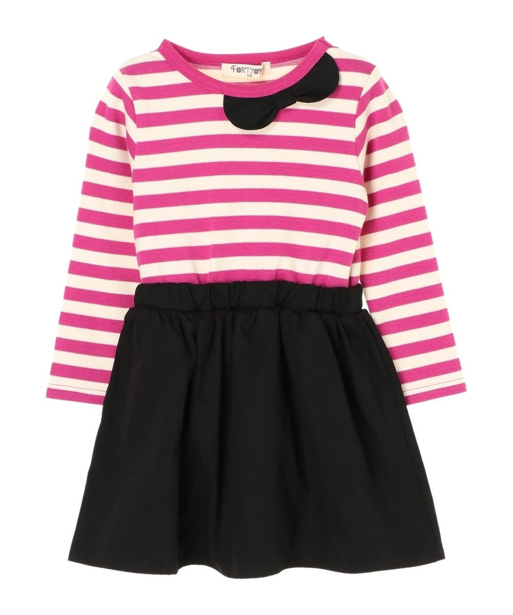 Green Parks ボーダー切替ワンピース Pink