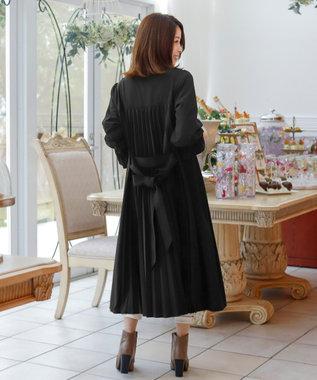 Tiaclasse 【洗える】後ろ姿で魅せる、バックプリーツシャツワンピース ブラック