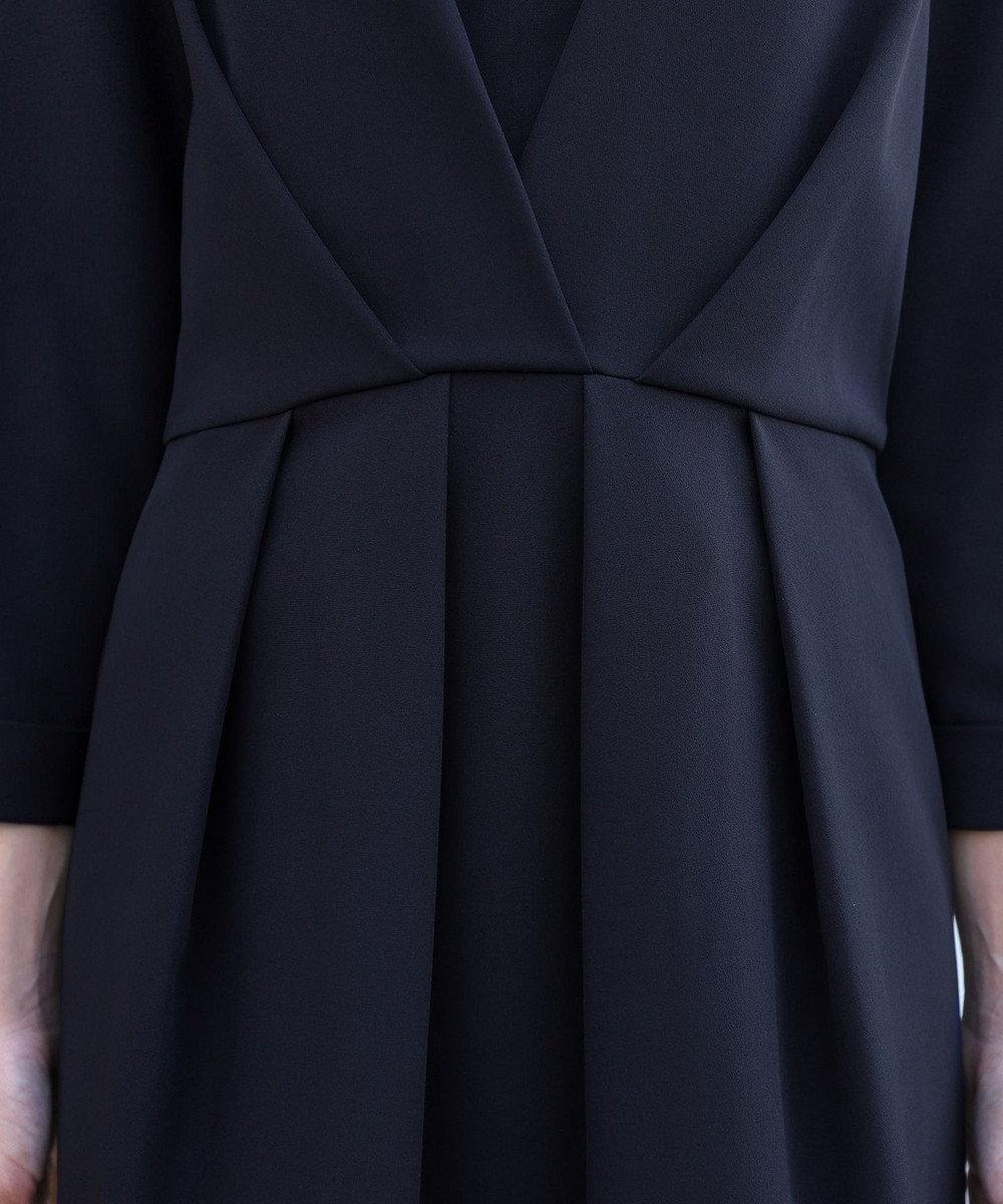 Tiaclasse 【洗える】上品ベルト付きコクーンワンピース ネイビー