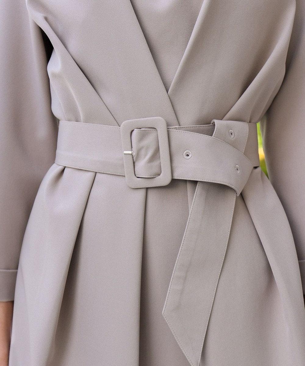 Tiaclasse 【洗える】上品ベルト付きコクーンワンピース グレージュ