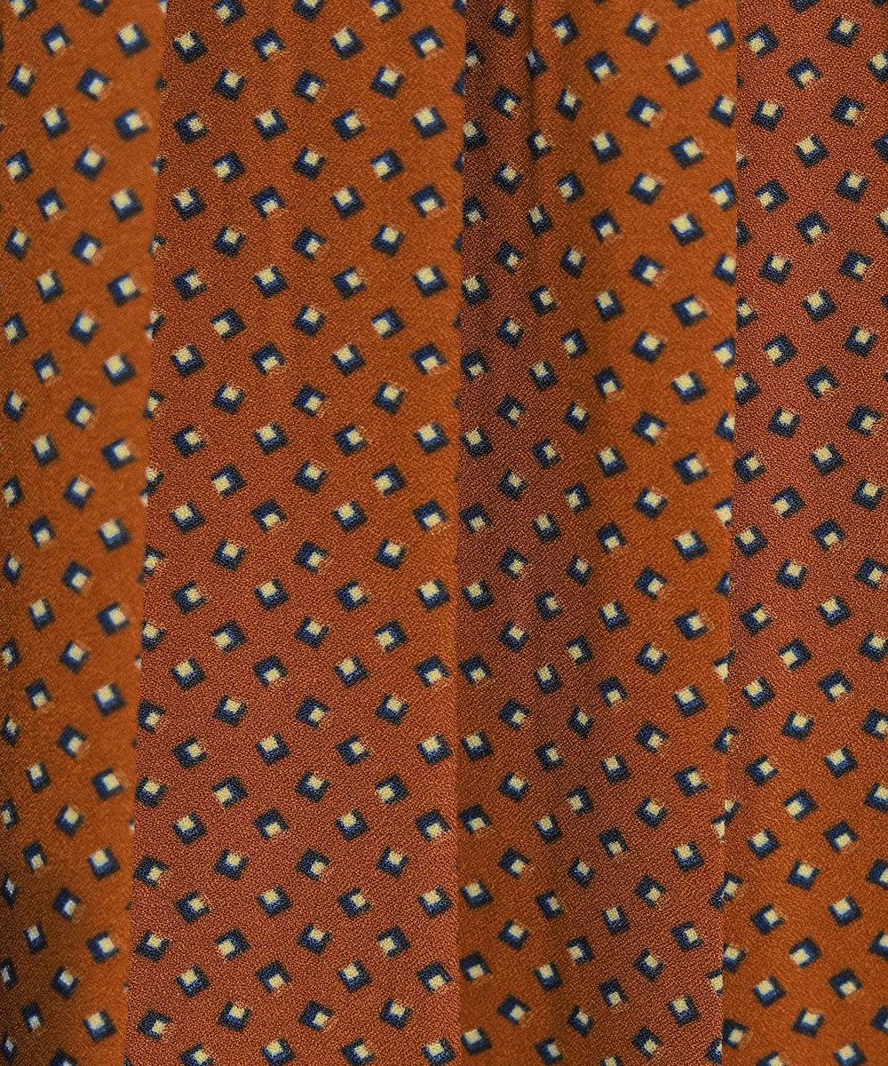Tiaclasse 【洗える】上品レトロ柄プリーツワンピース テラコッタ