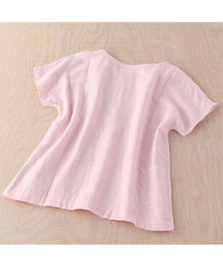 UCHINO マシュマロガーゼボーダーレディスTシャツ ピンク