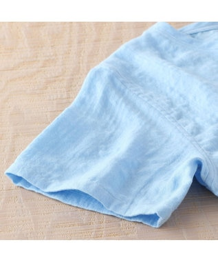 UCHINO マシュマロガーゼメンズVネックTシャツ ライトブルー