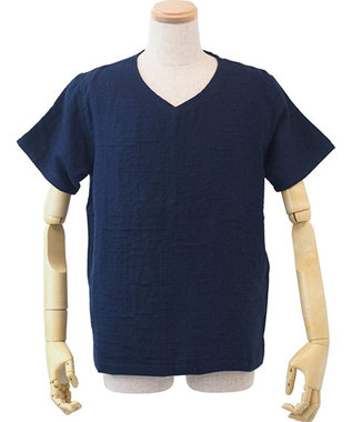 UCHINO マシュマロガーゼメンズVネックTシャツ ダークブルー