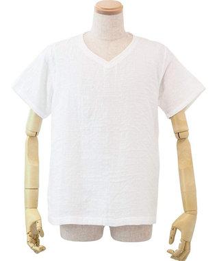 UCHINO マシュマロガーゼメンズVネックTシャツ ホワイト