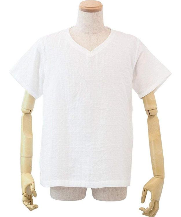 UCHINO マシュマロガーゼメンズVネックTシャツ