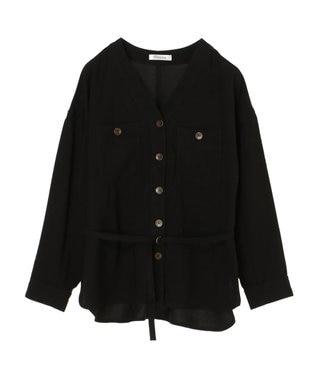 Green Parks ・furry rate Vネックシャツジャケット Black