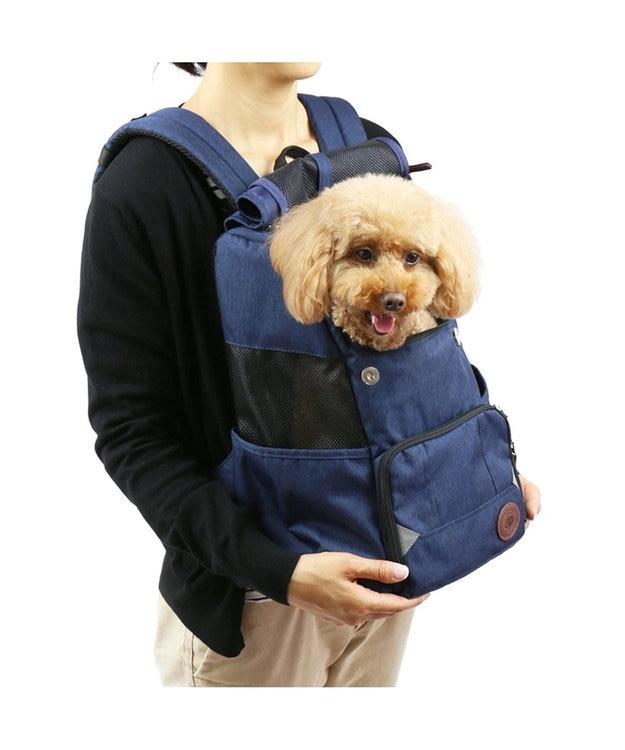 PET PARADISE J.PRESS 抱っこ&リュックキャリー フラップバッグ紺〔小型犬〕