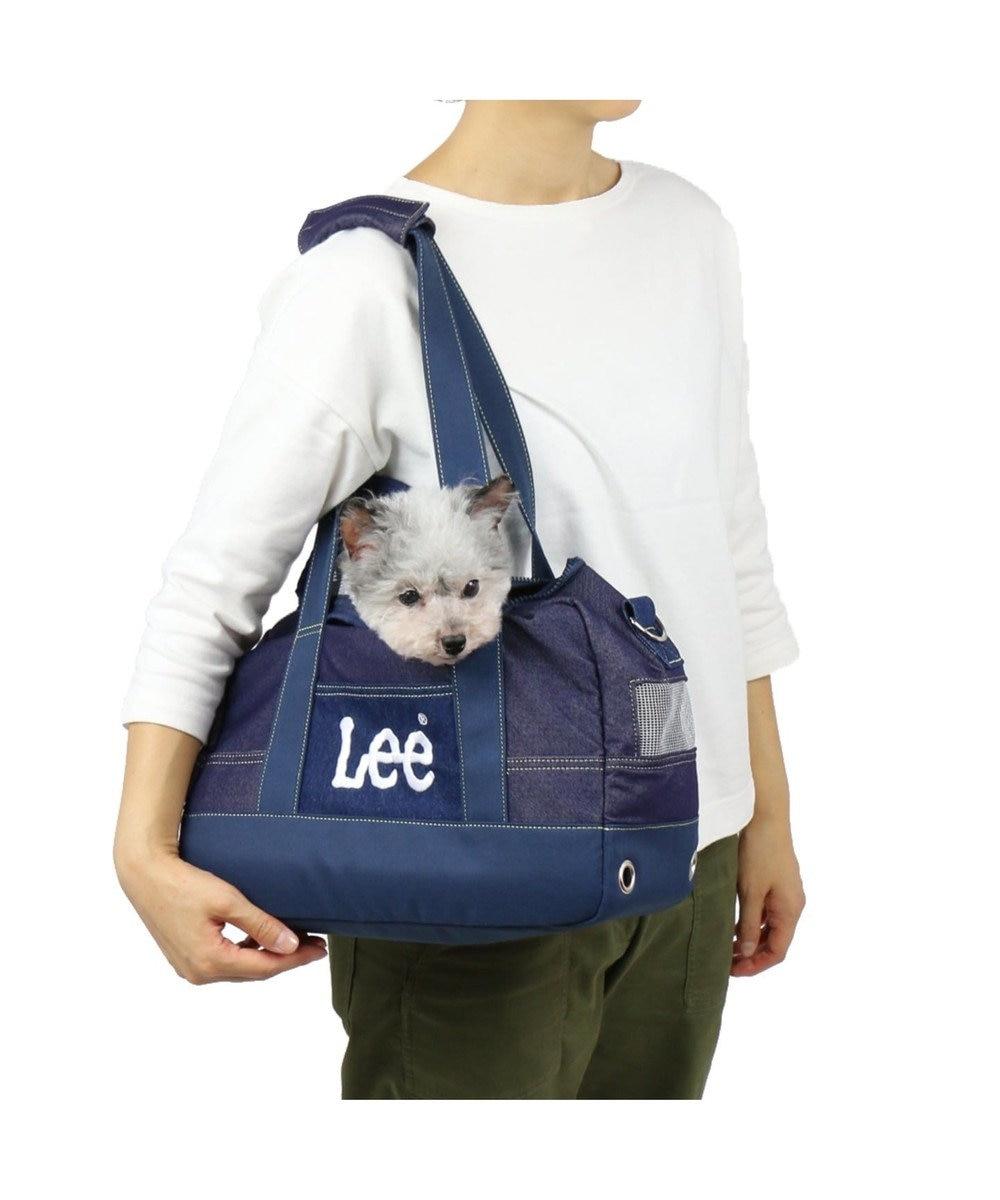 PET PARADISE Lee ペットキャリーバッグM デニム風 ボックス型〔小型犬〕 紺(ネイビー・インディゴ)