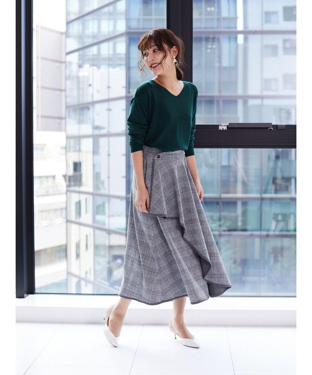Green Parks ・LHELBIE グレンチェックラッフルスカート Gray