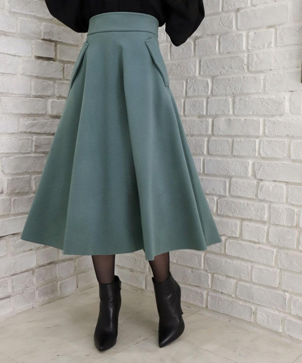 Tiaclasse 【洗える】女性らしさ引き立つ、サイドポケットスカート アンティークブルー