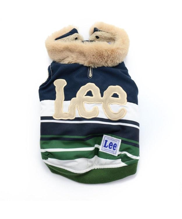 PET PARADISE Lee ボーダー 切替 綿入り ベスト〔小型犬〕 緑