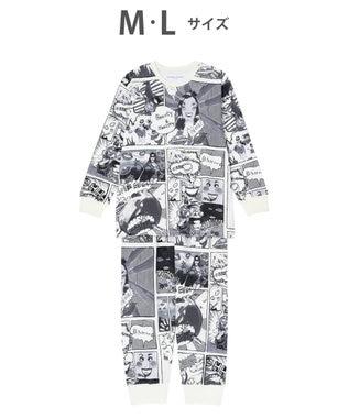 tsumori chisato SLEEP パジャマ ロング袖ロングパンツ アメコミ柄 /ワコール UDR340 ブラック