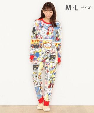 tsumori chisato SLEEP パジャマ ロング袖ロングパンツ アメコミ柄 /ワコール UDR340 レッド