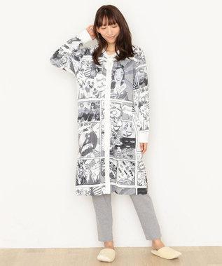 tsumori chisato SLEEP パジャマ 長袖ワンピース&ロングパンツ アメコミ柄 /ワコール UDR341 ブラック