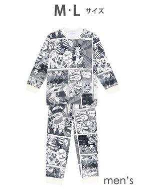 tsumori chisato SLEEP メンズパジャマ ロング袖ロングパンツ アメコミ柄 /ワコール UGR302 ブラック
