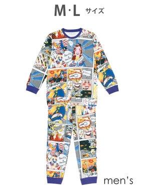 tsumori chisato SLEEP メンズパジャマ ロング袖ロングパンツ アメコミ柄 /ワコール UGR302 レッド
