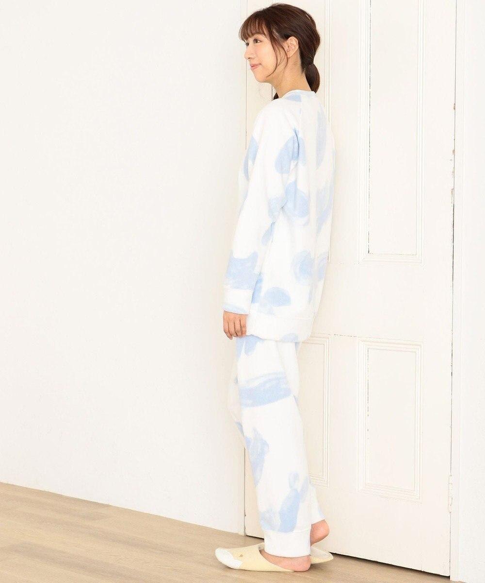 tsumori chisato SLEEP パジャマ ロング袖ロングパンツ フリース ネコヒョウ柄 /ワコール UDR342 サックス