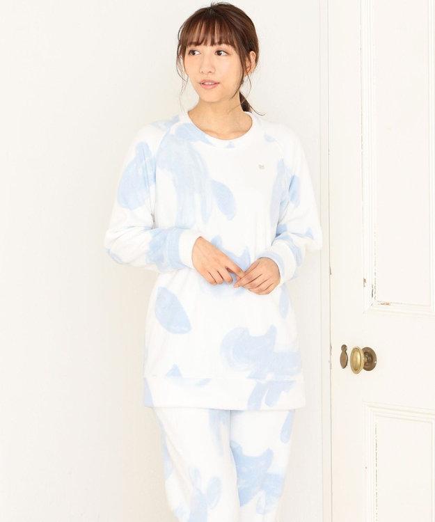 tsumori chisato SLEEP パジャマ ロング袖ロングパンツ フリース ネコヒョウ柄 /ワコール UDR342