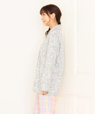 tsumori chisato SLEEP 長袖ローブ 短め丈 キルトニット コミック吹き出し柄 /ワコール URR350 グレー