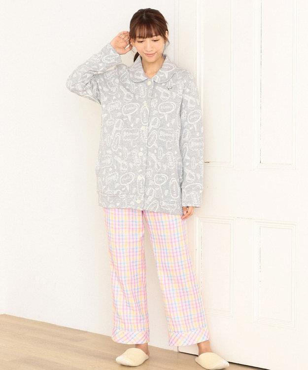 tsumori chisato SLEEP 長袖ローブ 短め丈 キルトニット コミック吹き出し柄 /ワコール URR350