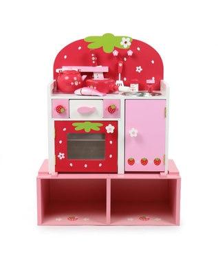 Mother garden マザーガーデン 野いちごままごと グリルキッチン用 高さ19cmUP台 継ぎ足し台 おもちゃ収納 継足し 台 木製 キッチン台 おもちゃ箱 ままごと収納 子供 イチゴ 女の子 おままごと収納 ピンク(淡)