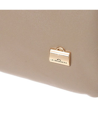 LA BAGAGERIE シープレザー縦型お財布ポシェット グレージュ