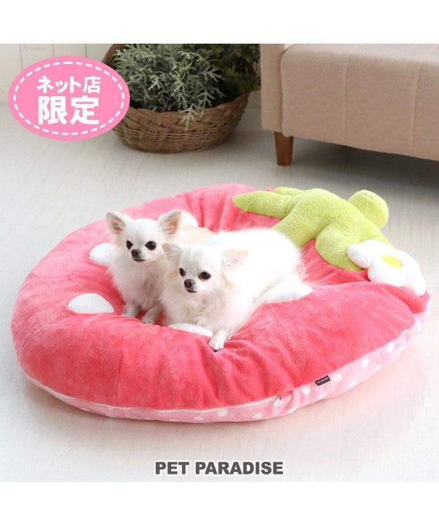 PET PARADISE ペット ベッド クッション(92×90cm) でかクッション 野いちご 型 ふわふわ 春桃 | 送料無料 ネット限定 苺 いちご イチゴ 野いちご クッション カドラー マット 犬 猫 大きい 多頭飼い
