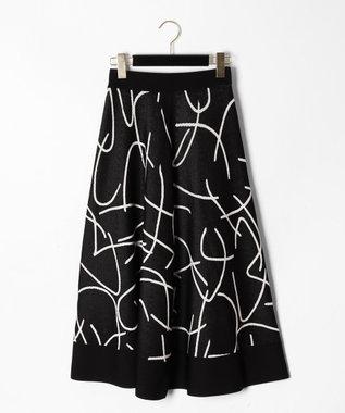 GRACE CONTINENTAL パターンジャガードニットスカート ブラック