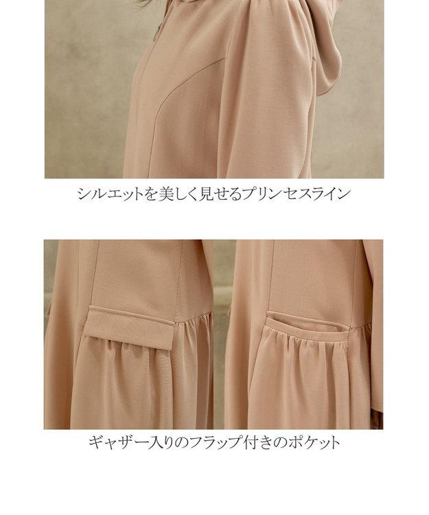 Tiaclasse 【洗える】大人可愛いフーデッドギャザーコート