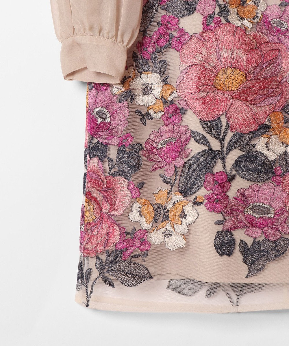 GRACE CONTINENTAL チュールボタニカル刺繍ワンピース ベージュ