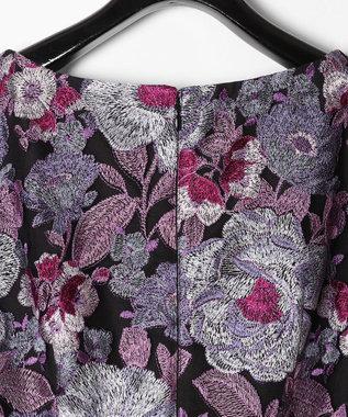 GRACE CONTINENTAL チュールボタニカル刺繍ワンピース ブラック