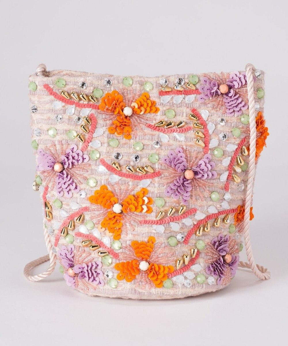 GRACE CONTINENTAL フラワー刺繍ミニバッグ ベージュ
