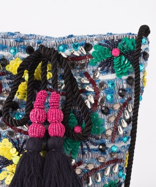 GRACE CONTINENTAL フラワー刺繍ミニバッグ ブルー