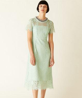 GRACE CONTINENTAL フラワーレースドレス ライトグリーン