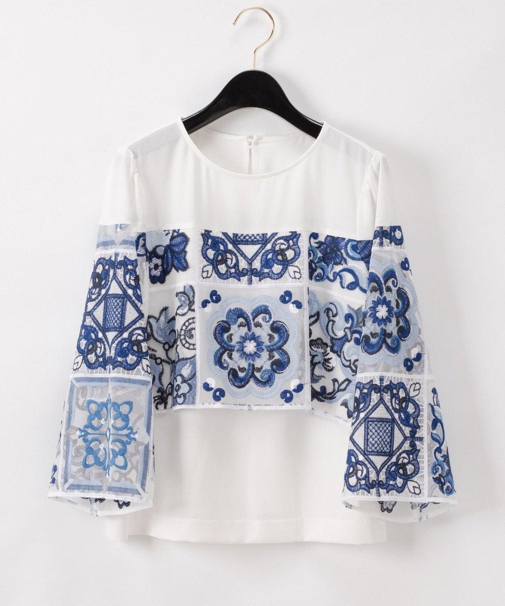 GRACE CONTINENTAL タイル刺繍トップ ホワイト