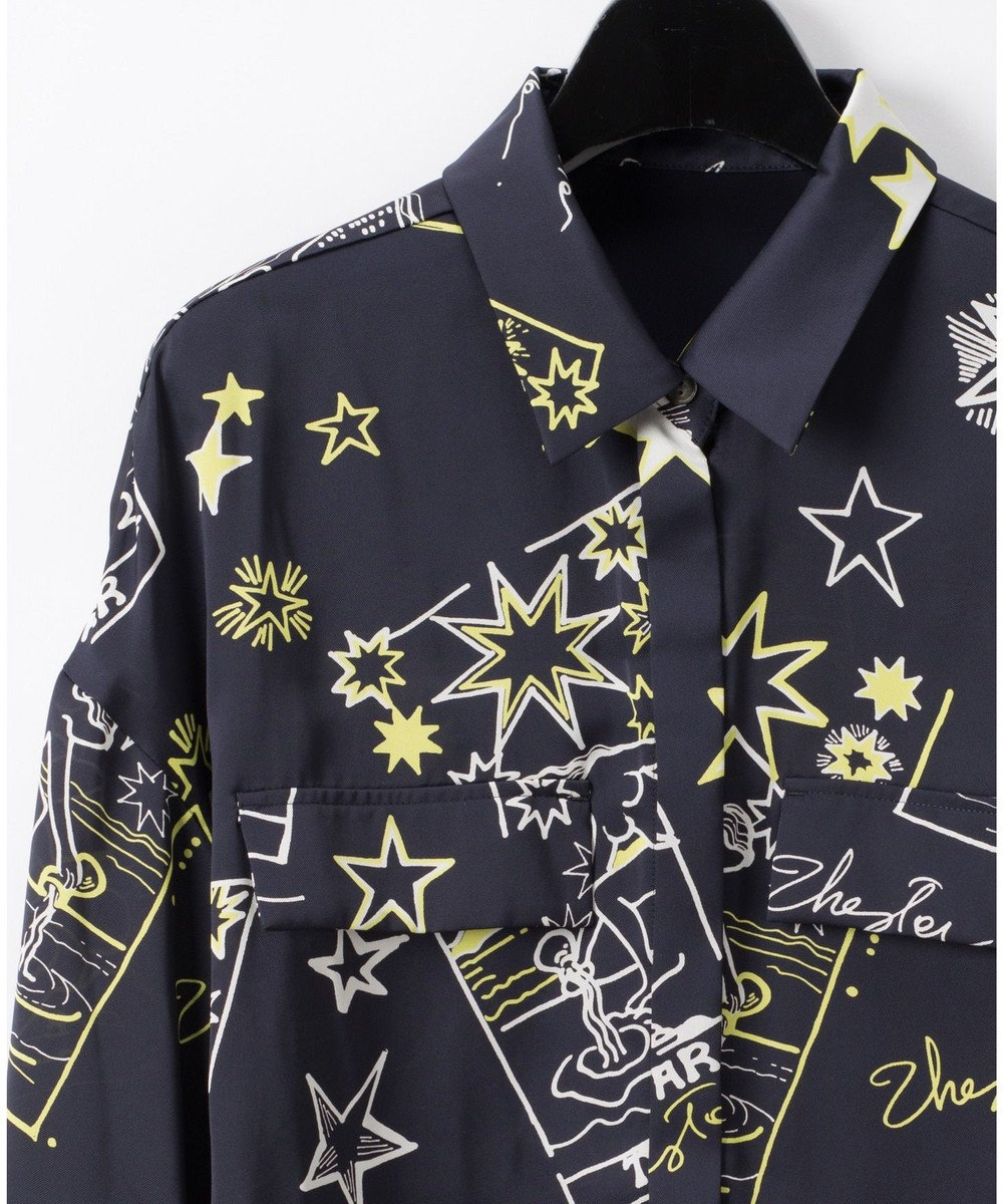 GRACE CONTINENTAL スタープリントシャツブラウス ネイビー